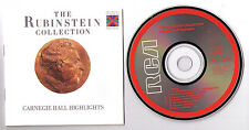 Rubinstein Collection Carnegie Hall Highlights live classical piano CD Japan '87