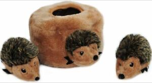Burrow Squeaky Hide and Seek Plush Dog Toy, Hedgehog Den, Puzzle Set