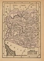 1888 Antique ARIZONA Map RARE MINIATURE Vintage Map of Arizona State Map 8233