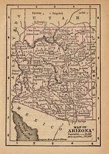 1888 Antique ARIZONA Map RARE MINIATURE Vintage Map of Arizona State Map 8233