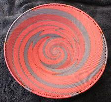 Plum Wine & Copper Handmade African Zulu Telephone Wire Basket/Platter LARGE