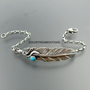 """Handcrafted sterling silver turquoise feather chain bracelet 7"""" customizable"""