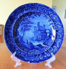 Historical Blue Staffordshire Pearlware Plate E. Wood Vue d'une Ancienne Abbaye