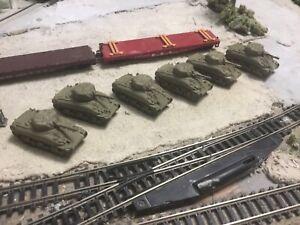 N Scale WW 2 era military army (6) Sherman Tanks flat car loads 3 d printed