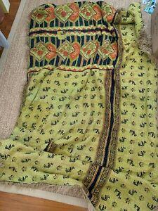 Vintage Kantha Indian Green Yellow Fur Throw