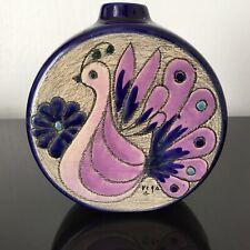 VASE Vintage 1960 Signé Eduardo VEGA Paon Peacock Ceramic Mid Century