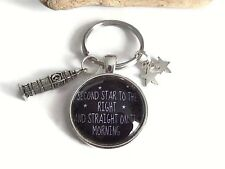 "PETER PAN inspired "" second star to the right"" 25mm Glass Dome KEYRING fan gift"