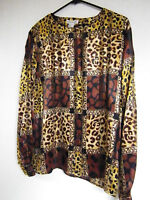 Womens Martinique Blouse Shirt Polyester Career Animal Print Dressy Top Size 14