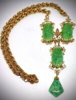 🍏AMAZING INTRICATE🍏BAROQUE SCHREINER NY🍏FAUX PRESSED PEKING GLASS NECKLACE🍏