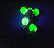 Uranium glass crystal bead bracelet ..bronze filigree faceted UV glam jewellery