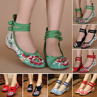 Chinese Embroidered Floral Shoes Women Ballerina Flat Ballet Cotton Loafer Top