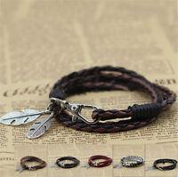 Leather Wrap Braided Wristband Bracelet Handmade Jewelry Cuff Punk Women/Men's