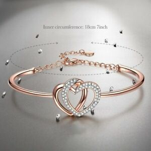 Guardian Of Love Heart Bracelet For Women Rose Gold With Crystals Party Jewelry