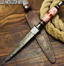 LOUIS MARTIN RARE CUSTOM HANDMADE DAMASCUS HUNTING BOOT DAGGER KNIFE CAMEL BONE