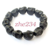 Black Howlite Turquoise Skull Tibet Buddhist Prayer Beads Mala Bracelet Jewelry#
