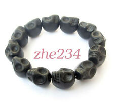 Black Howlite Turquoise Skull Tibet Buddhist Prayer Beads Mala Bracelet Jewelry#