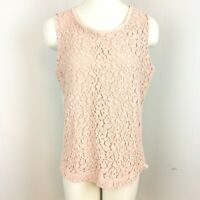 Ann Taylor Loft Size Large Sleeveless Blush Pink Embroidered Floral Tank Top