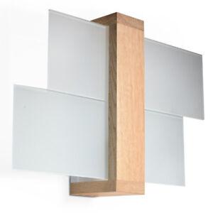 Feniks Naturholz E27 Wandleuchten Wandlampen Wandlicht Leuchte Holz Glas Modern