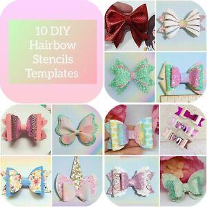 10 Hair bow craft plastic stencils templates random bundle bow shapes