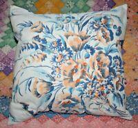 LARGE Throw Pillow Orange Blue Floral Mid Century Vintage Tablecloth Sham