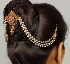 HP- 68 Indian Wedding Pearl Hair Bun Pin Head Piece Bridal Juda Earrings Jewelry