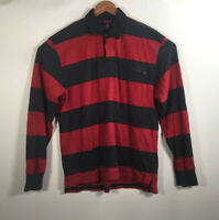Tommy Hilfiger VTG Men's Size L Red Navy Striped Rugby Long Sleeve Polo Shirt