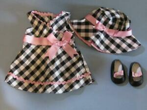 """Bitty Baby American Girl Doll 15"""" Clothes: Black White Checkered Dress/Shoes/Hat"""