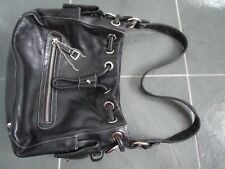 PERLINA New York Black Very Soft Genuine Leather Hand/Shoulder Bag Purse