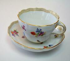 Antque c1800s MEISSEN Blue Cross Swords FLOWERS, BUGS, INSECTS Big Cup & Saucer