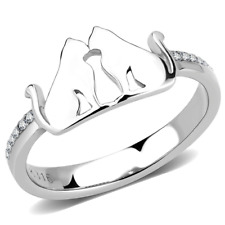 Ladies cat ring cz cats band silver contemporary stainless steel sparkling 309
