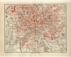 1895 ITALY ROME ROMA CITY PLAN Antique Map