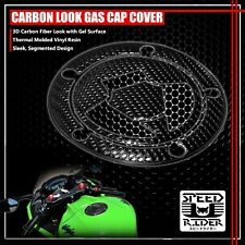 07+NINJA ZX-6R/10R/14R/650 GAS CAP FUEL LID COVER PROTECTOR PAD PERFORATED BLACK