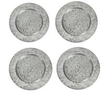 """Mud Pie Home 13"""" Wide Galvinized Tin Charger Plate Set of 4"""