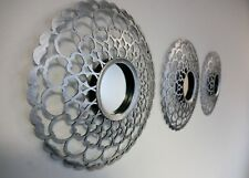 Set Of 3 Decorative Antique Silver Mirrors Round Wall Mounted Moroccan Art Deco