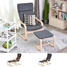 HOMCOM Relaxsessel mit Fußhocker Armlehnensessel Leinenbezug Holzgestell 2 in