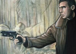 Original Aceo art sketch card Harrison Ford Deckard Blade Runner Sci-Fi Ink
