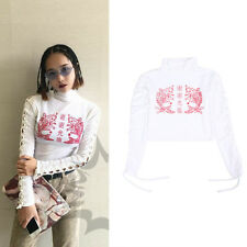 Women Chinese Letters Print Crop Top Turtle Neck Long Sleeve Lace Up Carp Tops