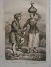 gravure 19° voyage Cook : Costumes des habitants d'Amboine Moluques Indonésie