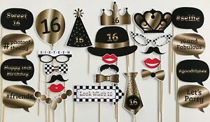 27 Piece Photo Booth Prop Set - Gold 16th Birthday Party - Aust Made