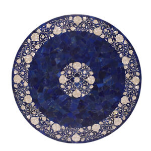 "42"" Marble Center Dining Table Top Semi precious stones lapis Inlay Work"