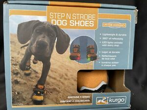 Kurgo Step N Strobe Dog Shoes Water Resistant Snow Boots Anti Slip Small Orange
