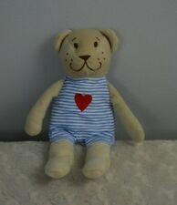 Ikea Tan Teddy Bear Plush Stuffed Animal Toy Blue White Stripes Red Heart Lovey