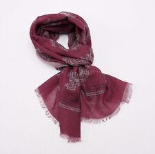 NWT $205 CORNELIANI Textured Wool-Silk Scarf Burgundy-Gray Paisley Print