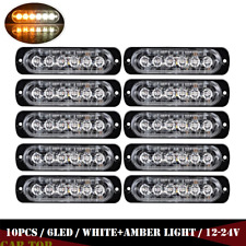 10x Amber/White 6LED Side Truck Emergency Beacon Warn Hazard Flash Strobe Light