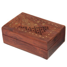 Fretwork Sheesham Wood Trinket Box with Flower Inlay (150x100x60mm)