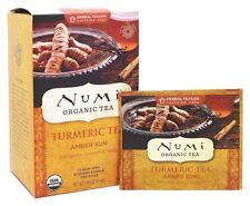 Numi Organic TURMERIC TEA Amber Sun, 12 Bags w/ Rooibos, Cinnamon, Vanilla DECAF