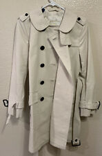 Coach Womens Trench Coat Sz 4 Mid Length Belted Jacket Cream Double Breasted