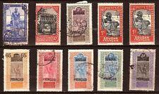 35T3  12 timbres Ex A.O.F  oblit.N°A7 & A8  faciale en piastres et millieme
