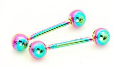 "Pair of 12g 5/8"" 6mm ball rainbow titanium plated tongue rings, nipple barbells"