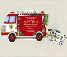 Fire Truck Birthday Party Invitations - Handmade and Personalized - Set of 10